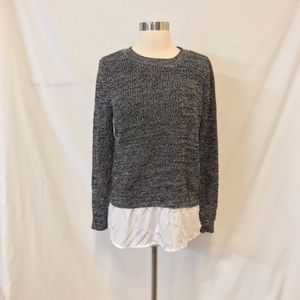 Faded Glory Gray Sweater with Shirt Tail Size L